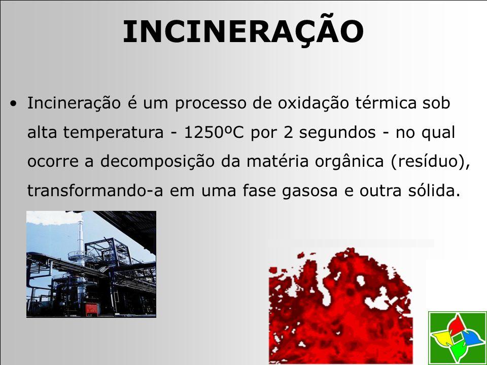 Incineração é um processo de oxidação térmica sob alta temperatura - 1250ºC por 2 segundos - no qual ocorre a decomposição da matéria orgânica (resíduo), transformando-a em uma fase gasosa e outra sólida.