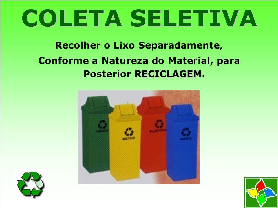 COLETA SELETIVA Recolher o Lixo Separadamente,