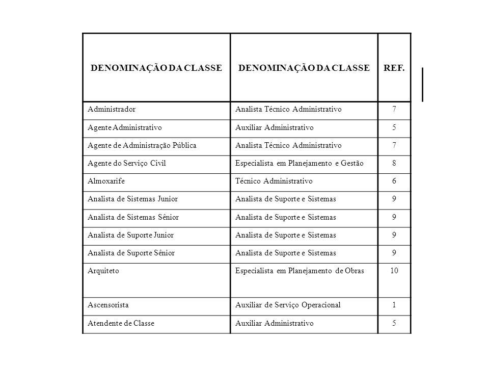 DENOMINAÇÃO DA CLASSE REF. Administrador