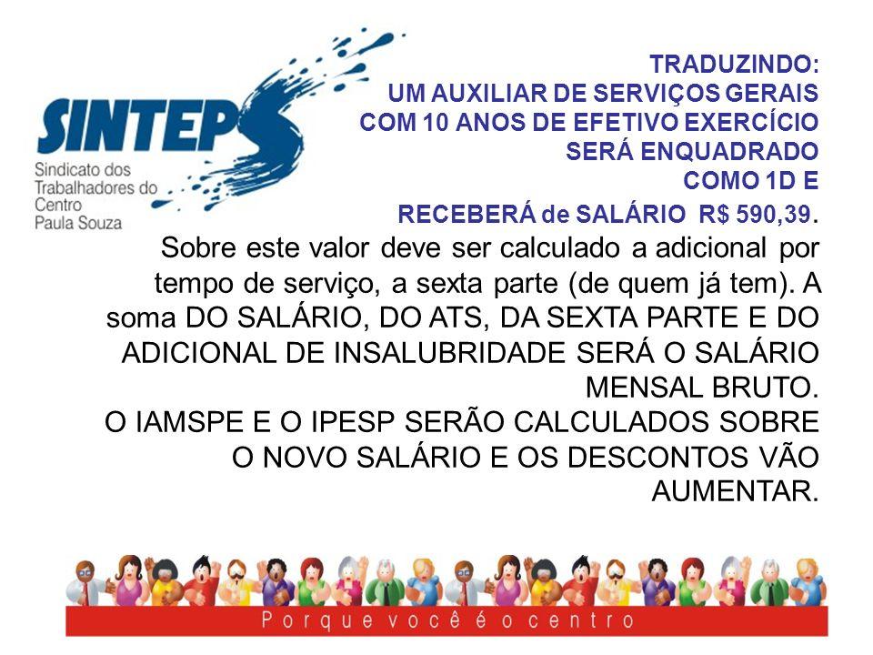 TRADUZINDO:UM AUXILIAR DE SERVIÇOS GERAIS COM 10 ANOS DE EFETIVO EXERCÍCIO SERÁ ENQUADRADO COMO 1D E.