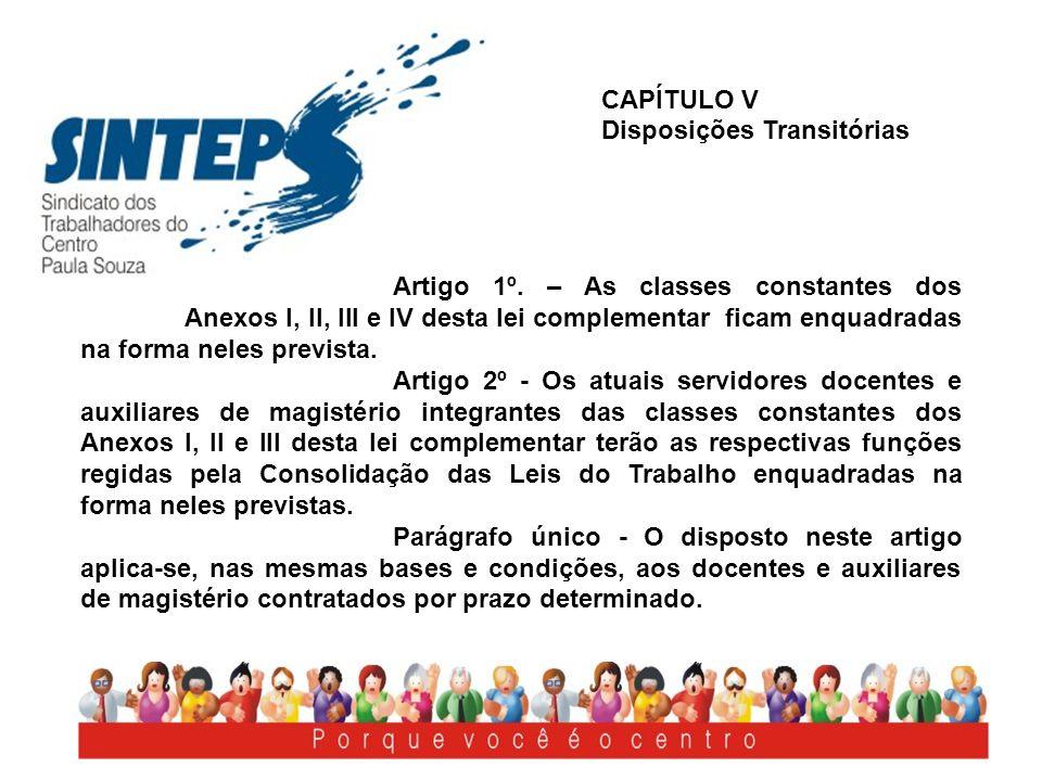 CAPÍTULO V Disposições Transitórias.