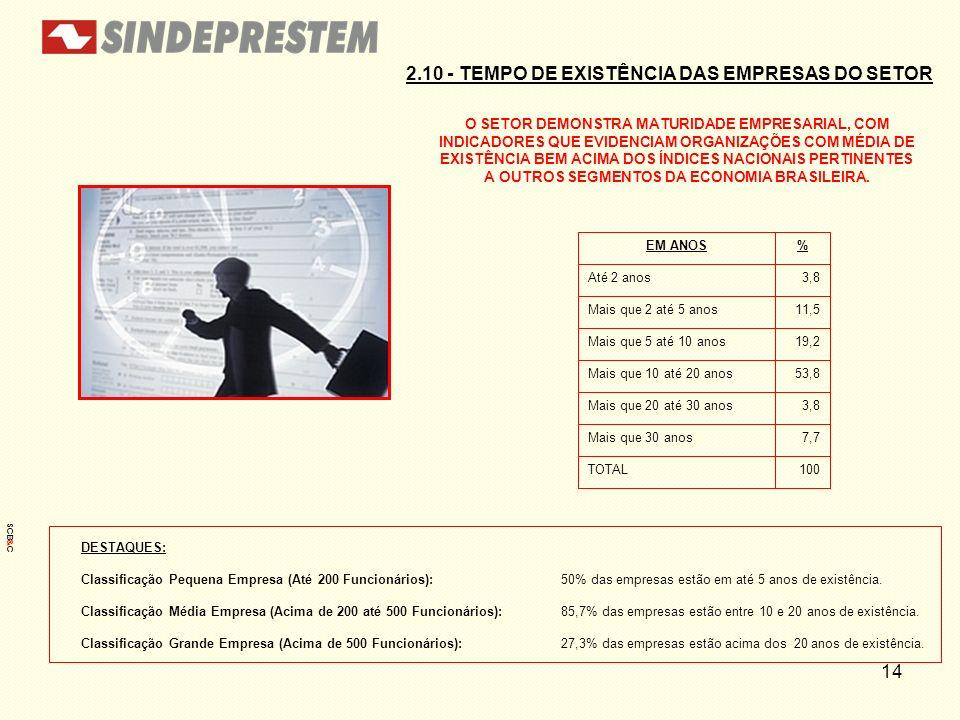 2.10 - TEMPO DE EXISTÊNCIA DAS EMPRESAS DO SETOR
