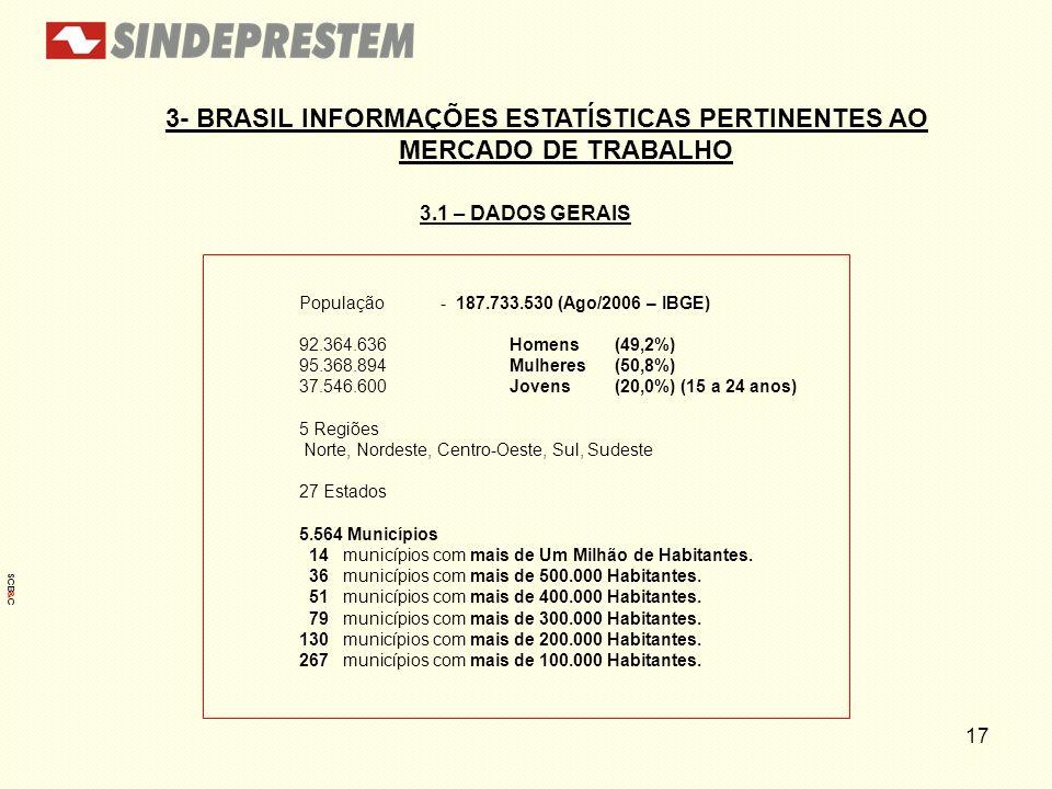 3- BRASIL INFORMAÇÕES ESTATÍSTICAS PERTINENTES AO MERCADO DE TRABALHO