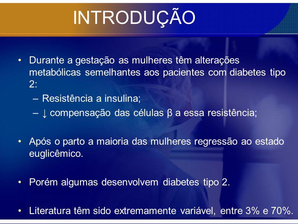 INTRODUÇÃO Durante a gestação as mulheres têm alterações metabólicas semelhantes aos pacientes com diabetes tipo 2: