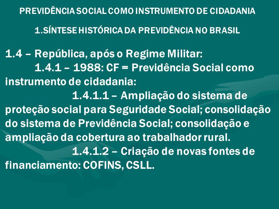 1.4 – República, após o Regime Militar: