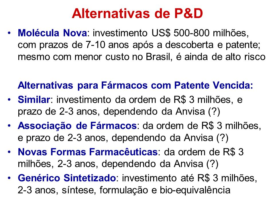 Alternativas de P&D