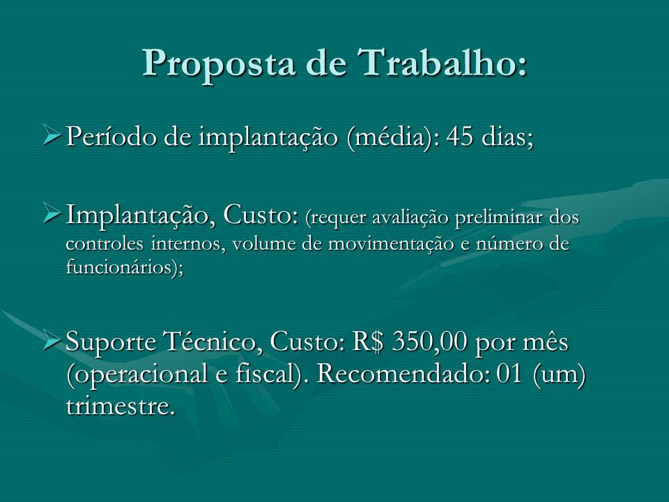 Proposta de Trabalho: Período de implantação (média): 45 dias;