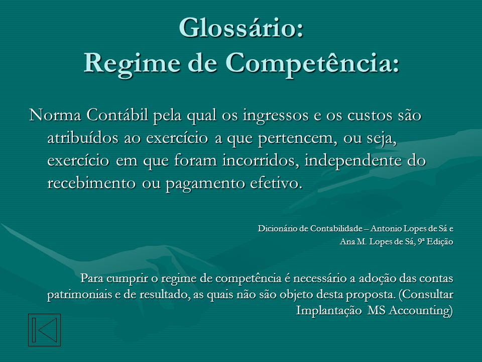 Glossário: Regime de Competência: