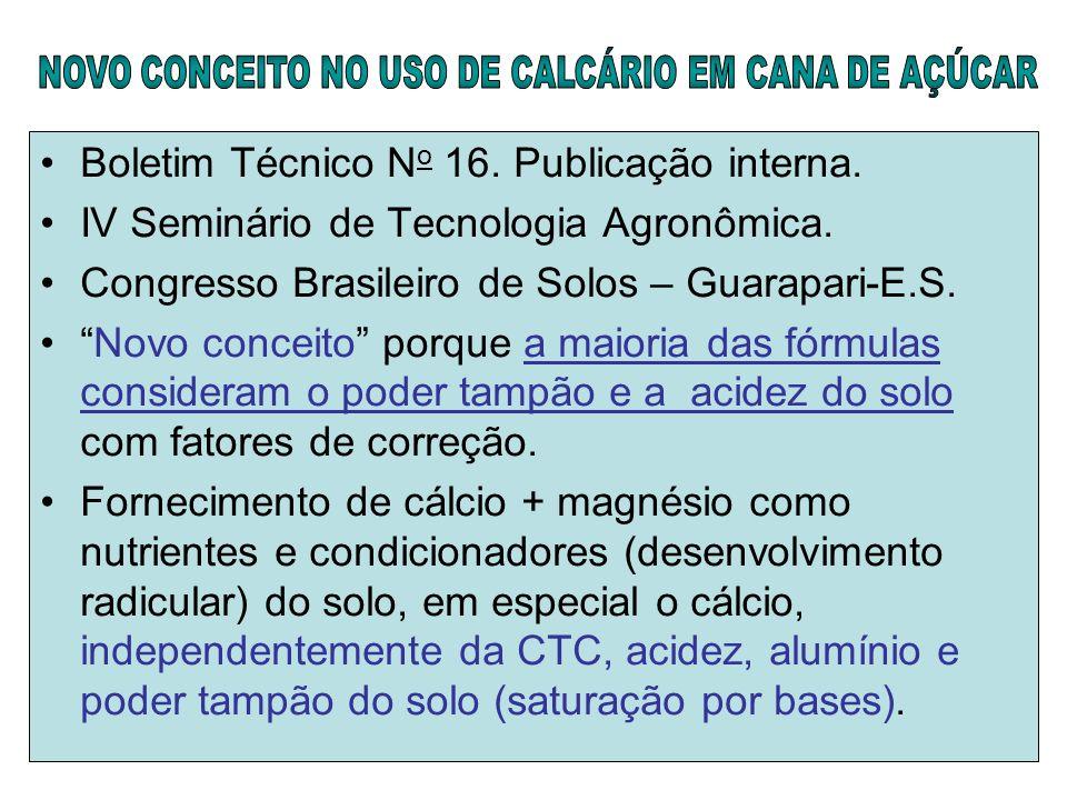 NOVO CONCEITO NO USO DE CALCÁRIO EM CANA DE AÇÚCAR