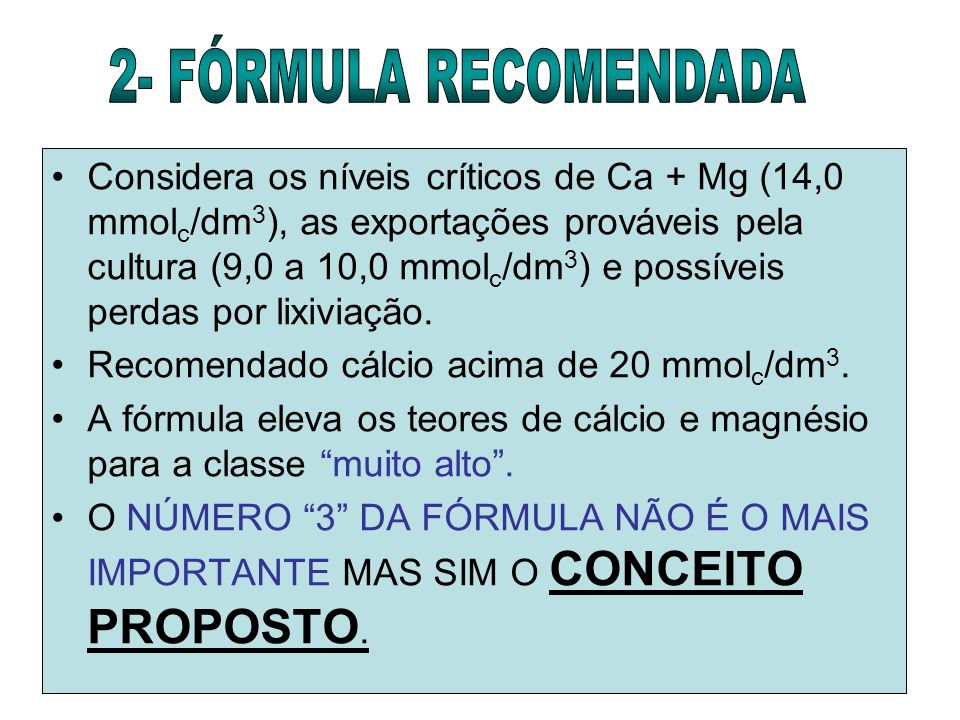 2- FÓRMULA RECOMENDADA