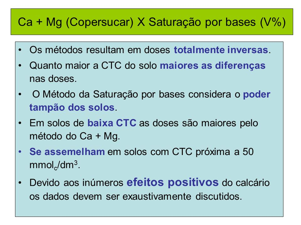 Ca + Mg (Copersucar) X Saturação por bases (V%)