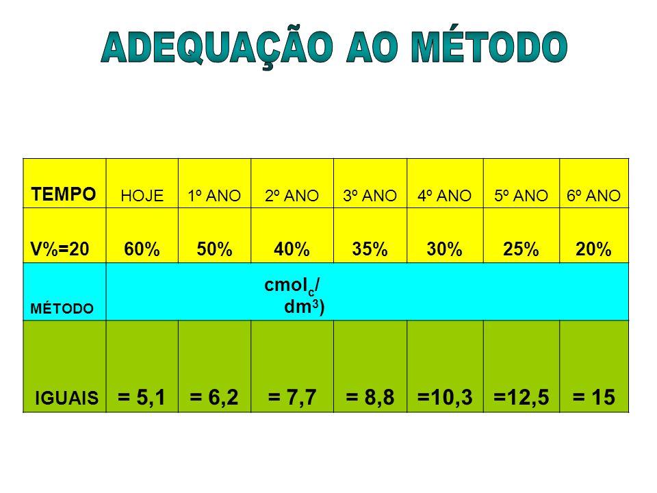 ADEQUAÇÃO AO MÉTODO = 5,1 = 6,2 = 7,7 = 8,8 =10,3 =12,5 = 15 TEMPO