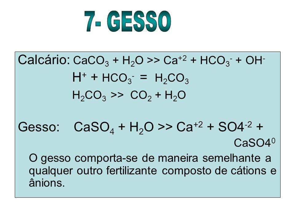 7- GESSO Calcário: CaCO3 + H2O >> Ca+2 + HCO3- + OH-