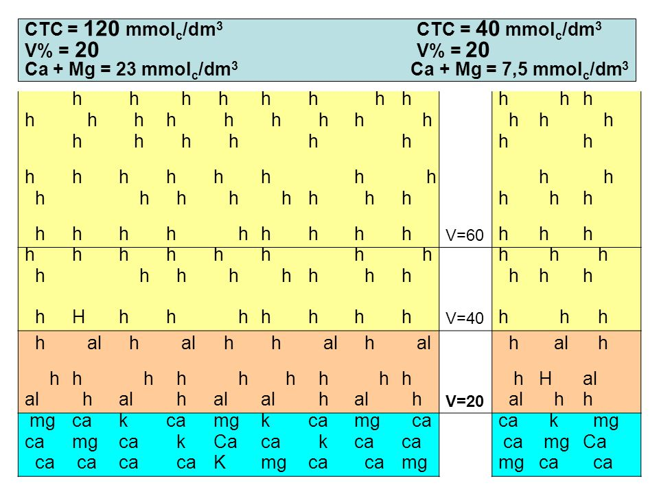 CTC = 120 mmolc/dm3 CTC = 40 mmolc/dm3 V% = 20 V% = 20 Ca + Mg = 23 mmolc/dm3 Ca + Mg = 7,5 mmolc/dm3