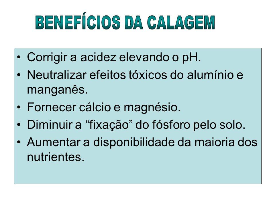 BENEFÍCIOS DA CALAGEM Corrigir a acidez elevando o pH. Neutralizar efeitos tóxicos do alumínio e manganês.