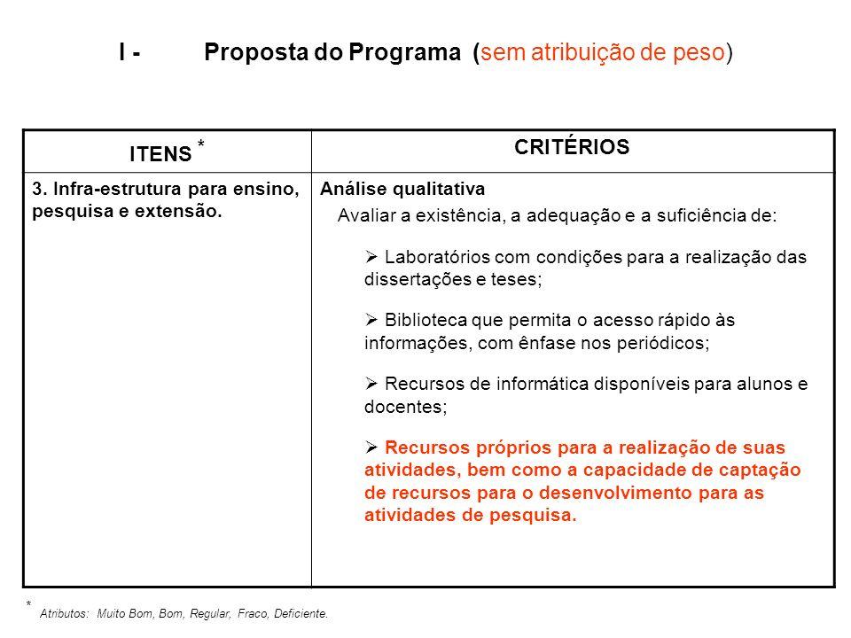 I - Proposta do Programa (sem atribuição de peso)
