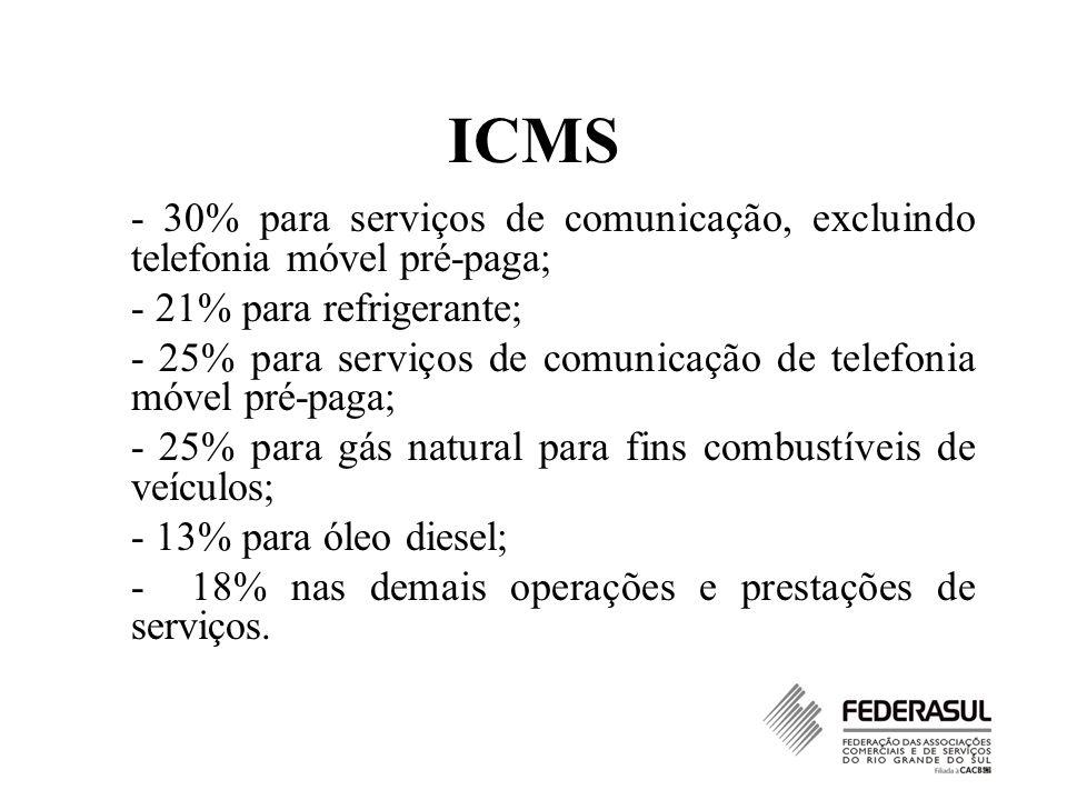 ICMS - 30% para serviços de comunicação, excluindo telefonia móvel pré-paga; - 21% para refrigerante;