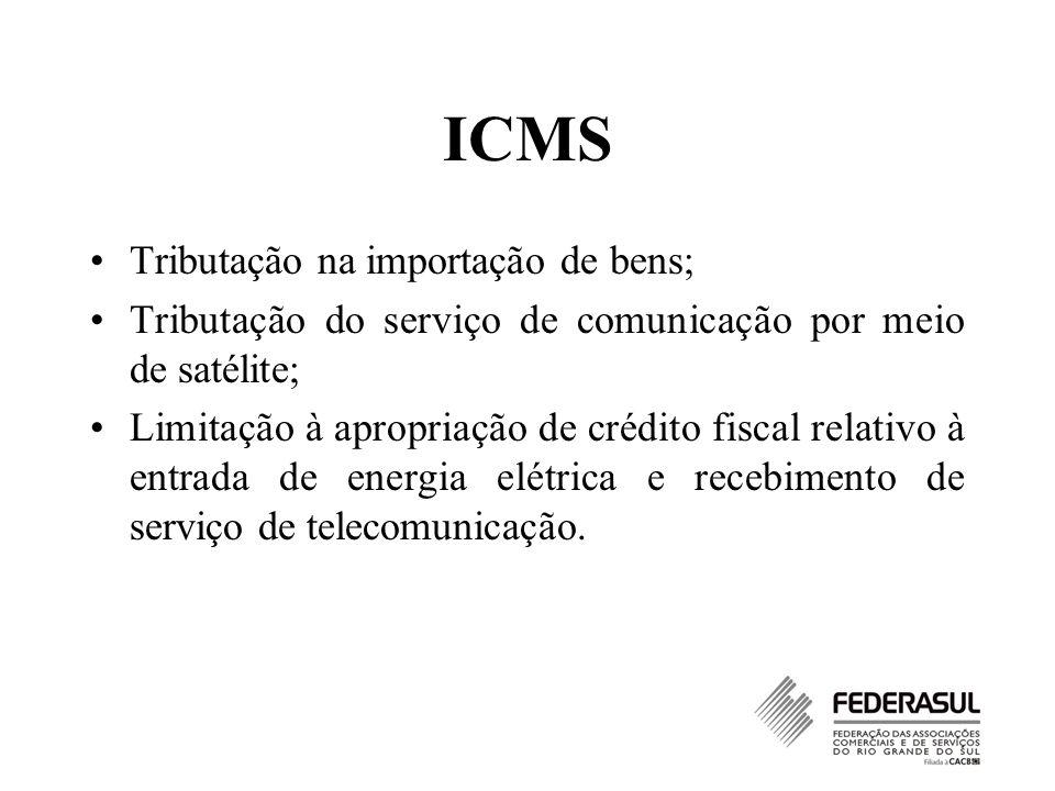 ICMS Tributação na importação de bens;