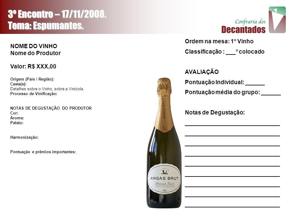 3º Encontro – 17/11/2008. Tema: Espumantes. Ordem na mesa: 1º Vinho