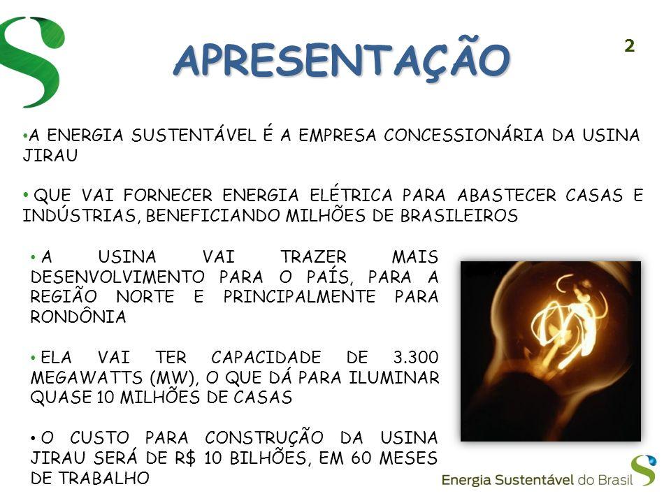 APRESENTAÇÃO A ENERGIA SUSTENTÁVEL É A EMPRESA CONCESSIONÁRIA DA USINA JIRAU.