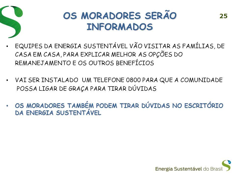 OS MORADORES SERÃO INFORMADOS