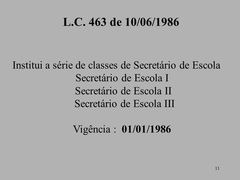 L.C. 463 de 10/06/1986 Institui a série de classes de Secretário de Escola. Secretário de Escola I.