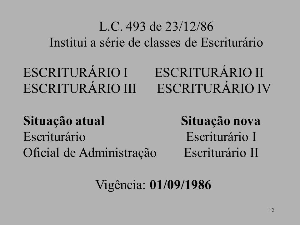 Institui a série de classes de Escriturário