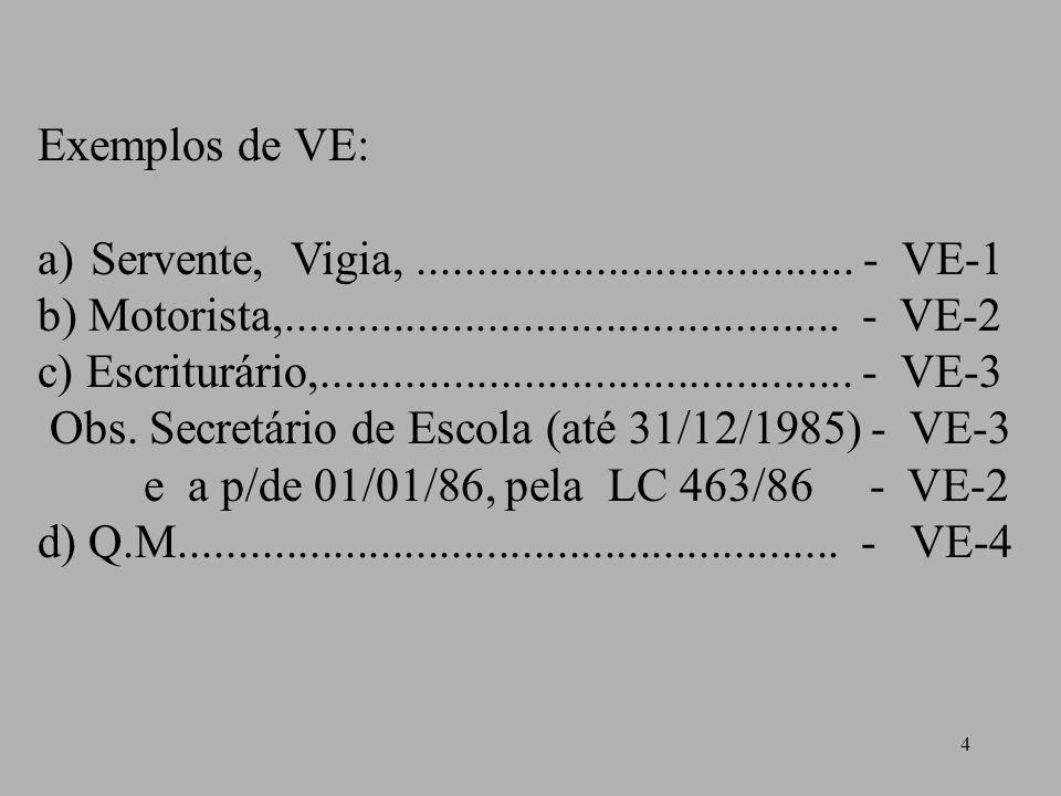 Exemplos de VE: Servente, Vigia, ..................................... - VE-1.