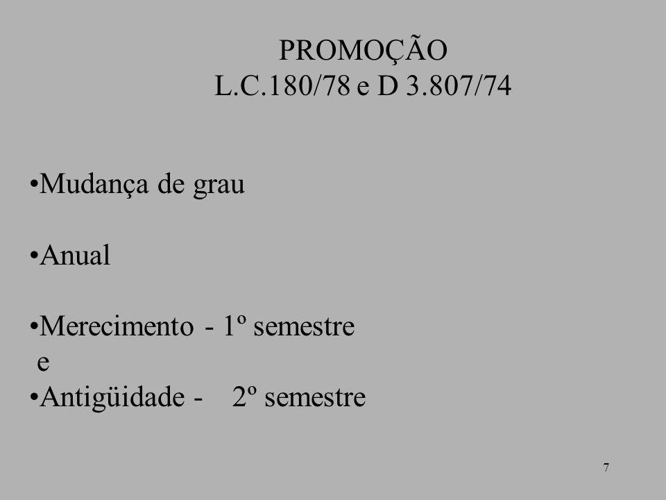 PROMOÇÃO L.C.180/78 e D 3.807/74. Mudança de grau.