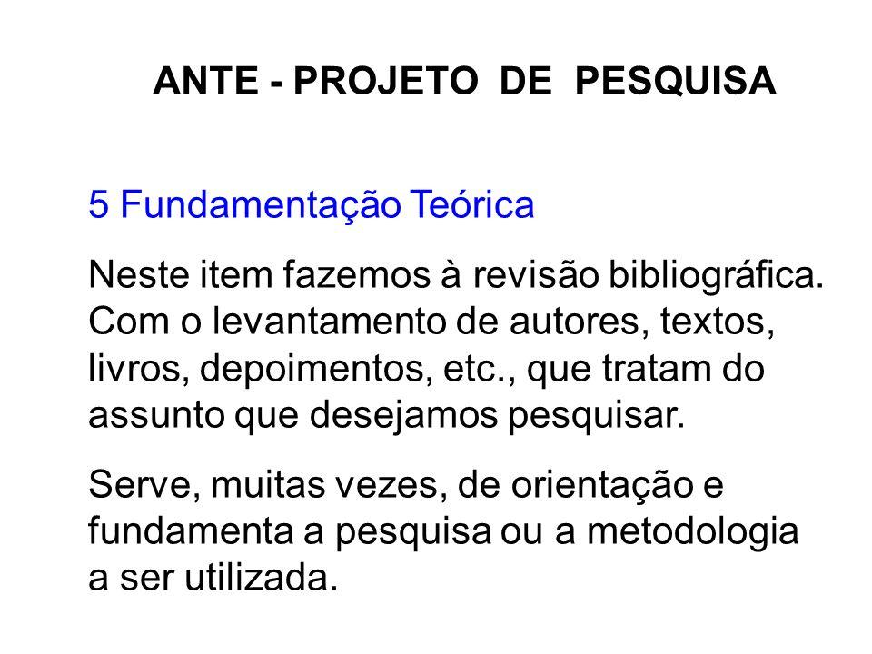 ANTE - PROJETO DE PESQUISA