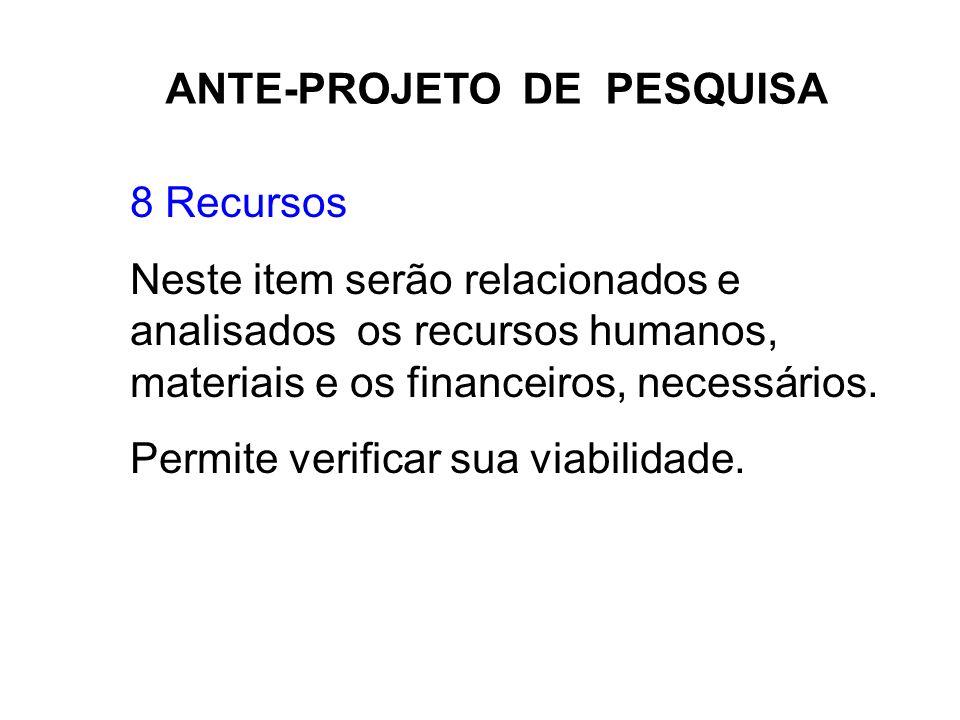ANTE-PROJETO DE PESQUISA