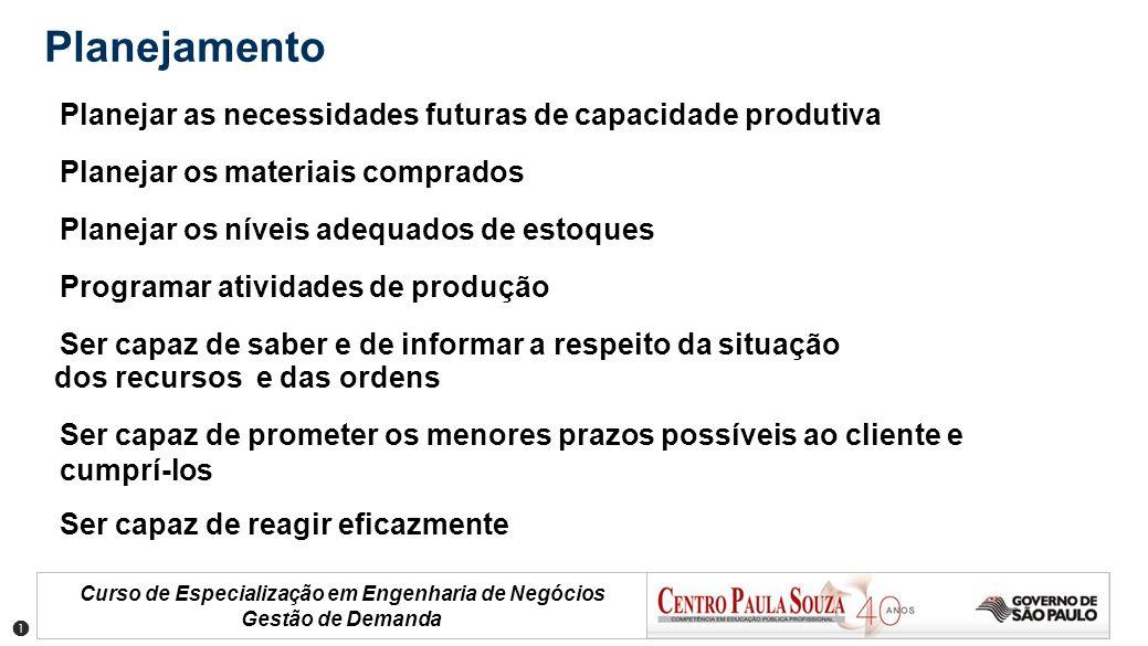Planejamento Planejar as necessidades futuras de capacidade produtiva