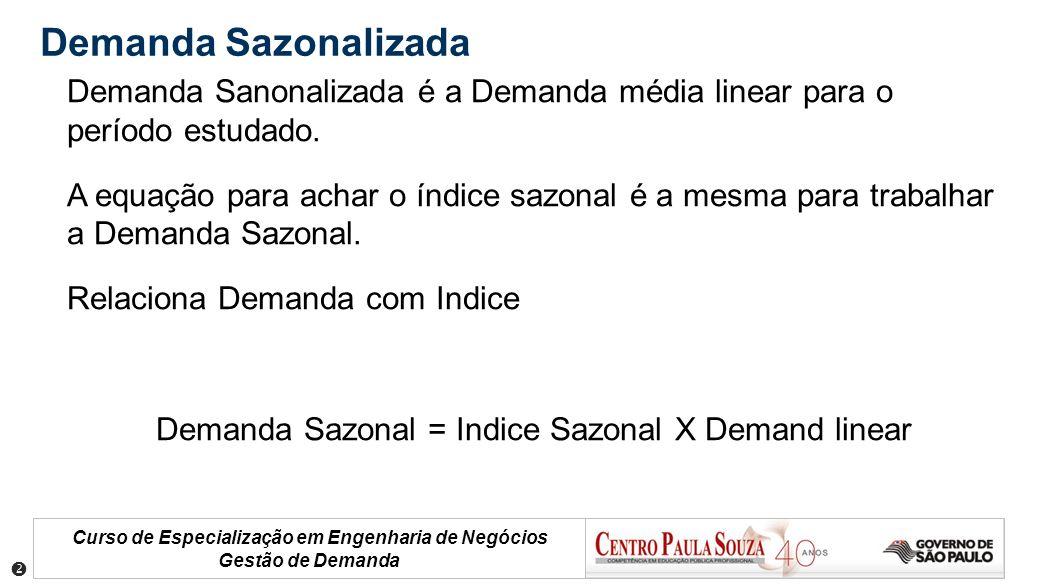 Demanda Sazonalizada Demanda Sanonalizada é a Demanda média linear para o período estudado.