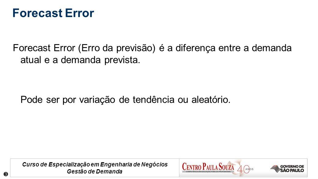 Forecast Error Forecast Error (Erro da previsão) é a diferença entre a demanda atual e a demanda prevista.