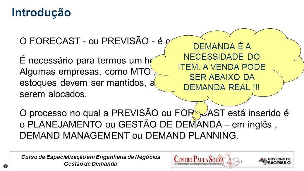 Introdução O FORECAST - ou PREVISÃO - é o prelúdio do planejamento.