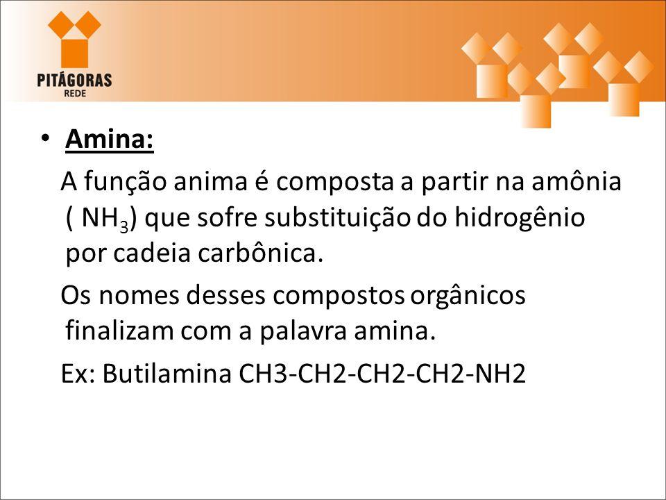 Amina:A função anima é composta a partir na amônia ( NH3) que sofre substituição do hidrogênio por cadeia carbônica.
