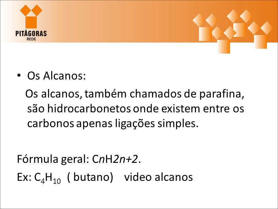 Os Alcanos:Os alcanos, também chamados de parafina, são hidrocarbonetos onde existem entre os carbonos apenas ligações simples.