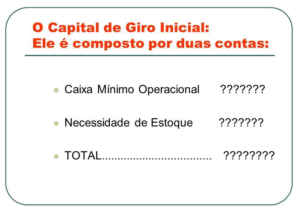 O Capital de Giro Inicial: Ele é composto por duas contas: