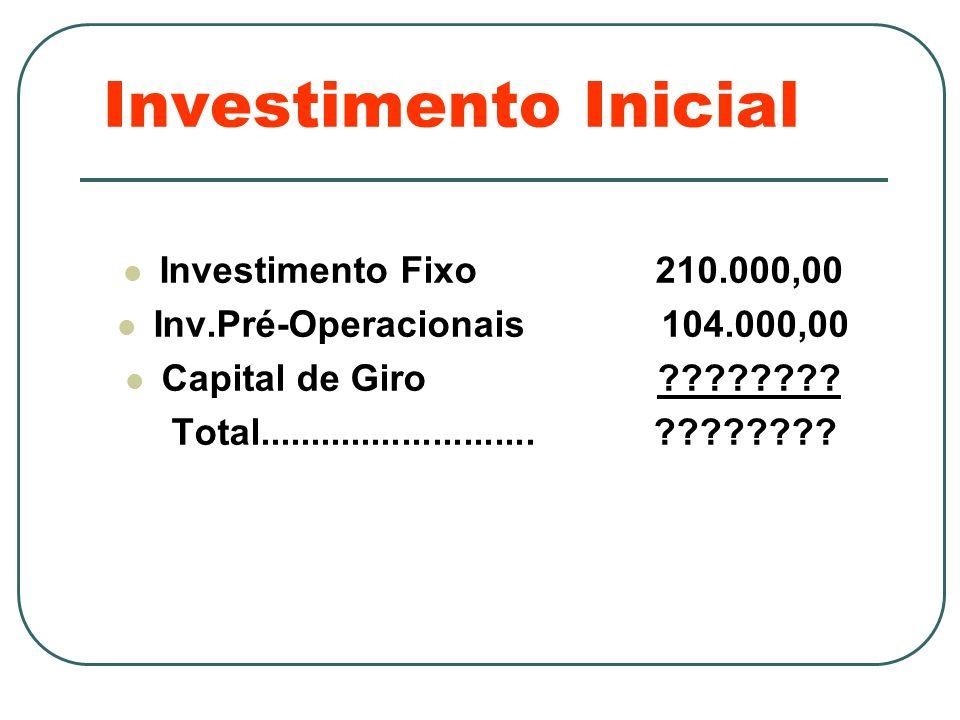 Investimento Inicial Investimento Fixo 210.000,00