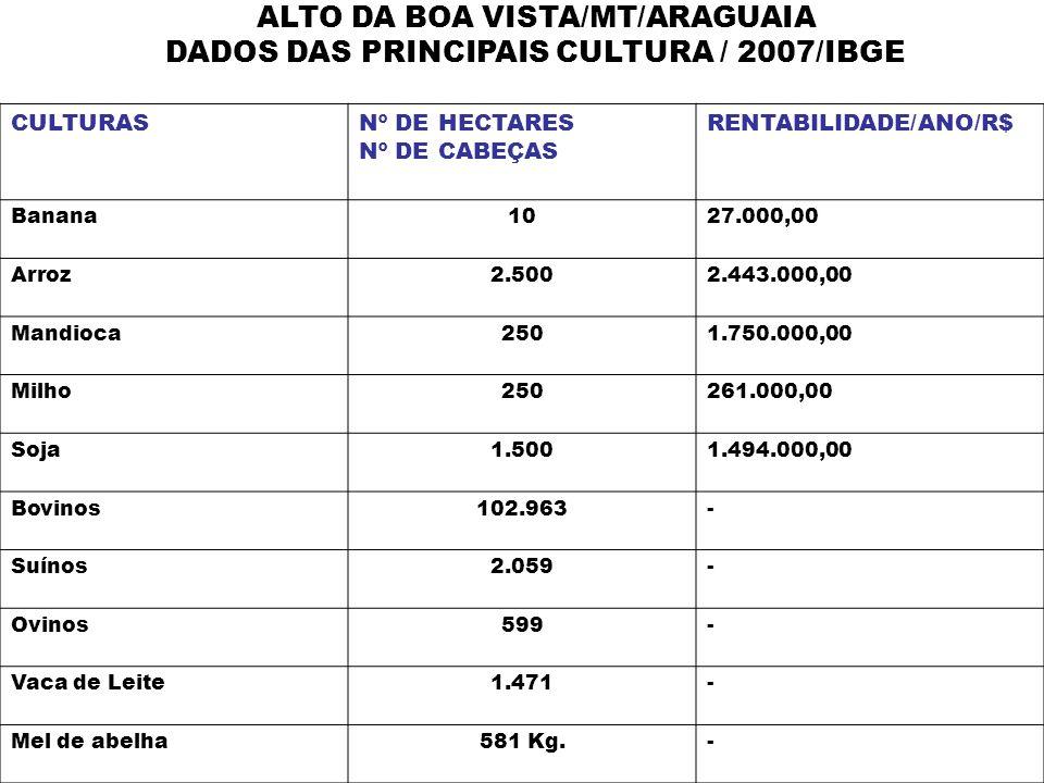 ALTO DA BOA VISTA/MT/ARAGUAIA DADOS DAS PRINCIPAIS CULTURA / 2007/IBGE