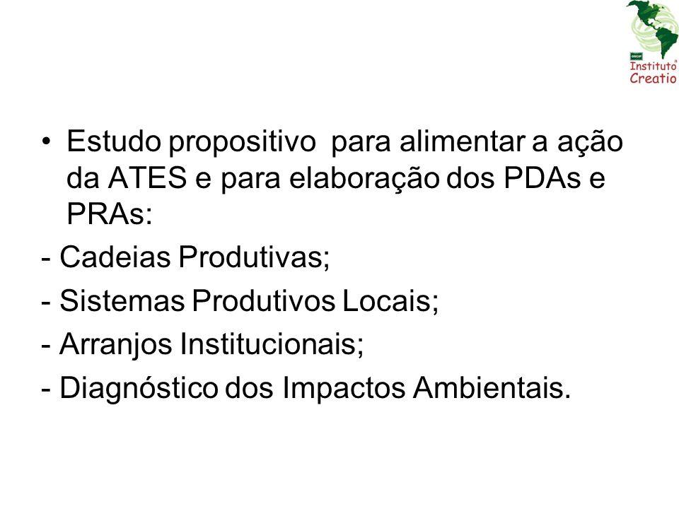 Estudo propositivo para alimentar a ação da ATES e para elaboração dos PDAs e PRAs: