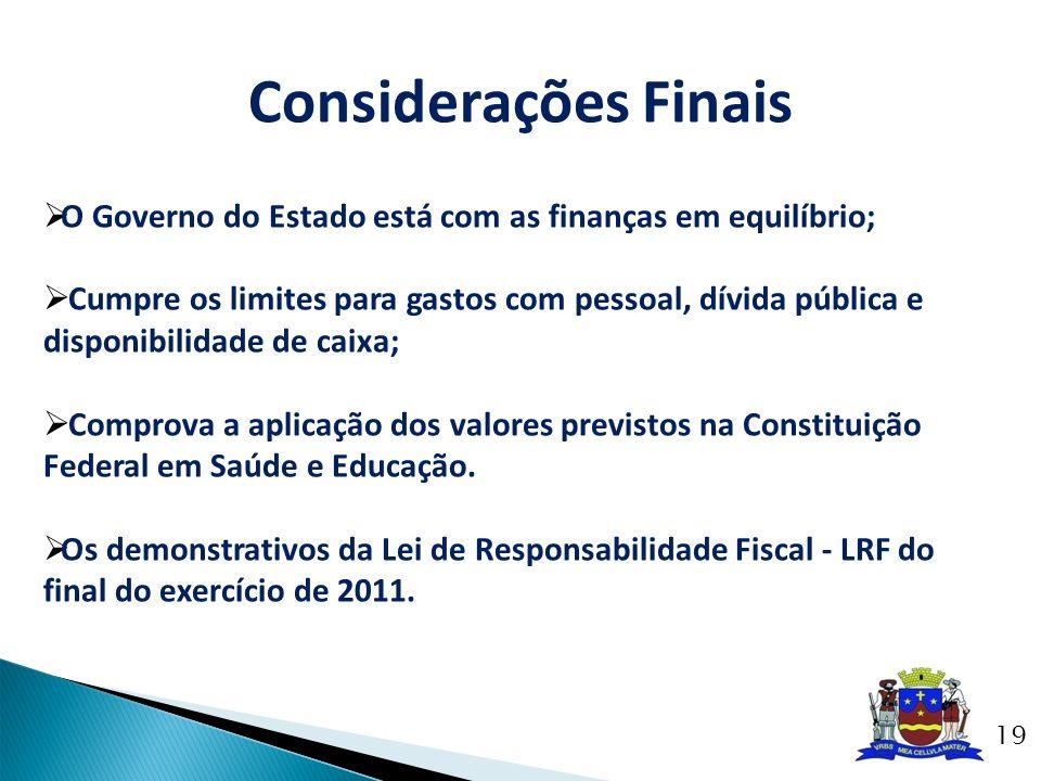 Considerações Finais O Governo do Estado está com as finanças em equilíbrio;