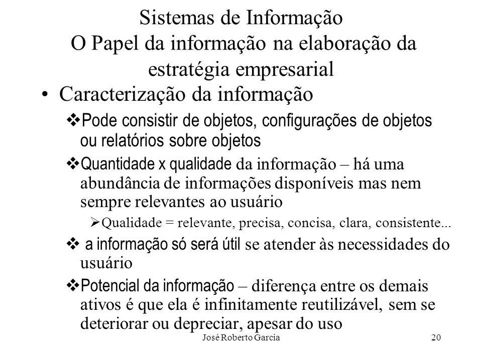 Caracterização da informação