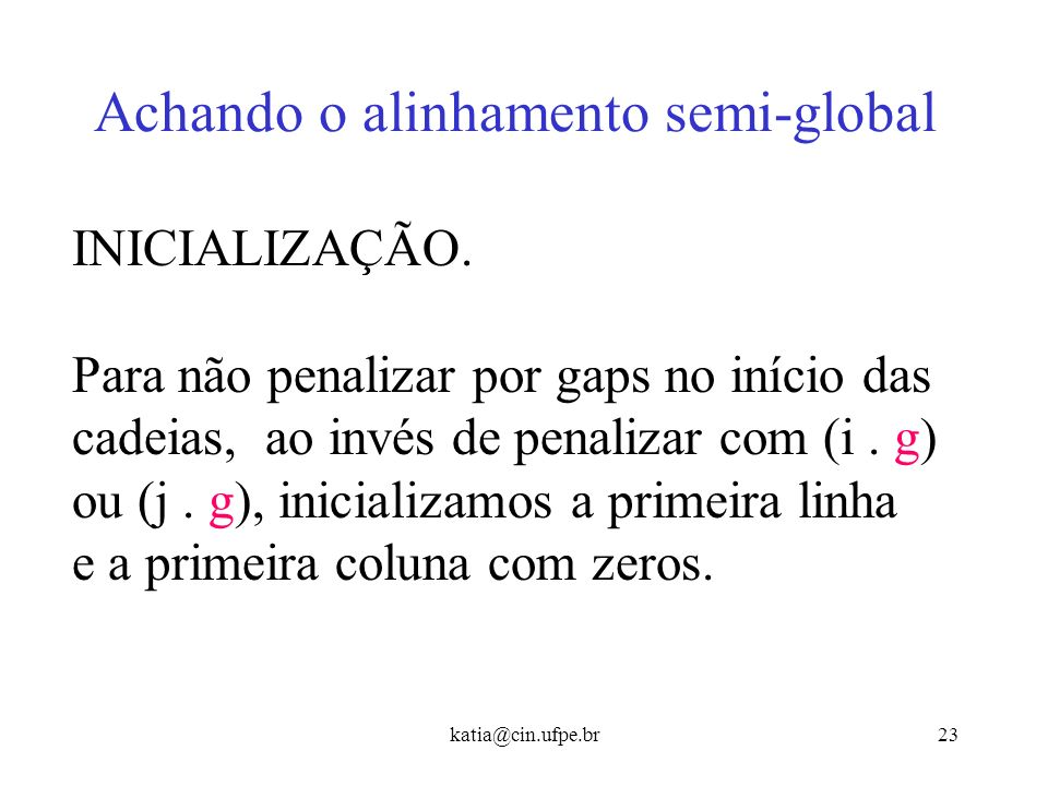 Achando o alinhamento semi-global