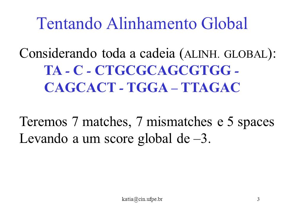 Tentando Alinhamento Global