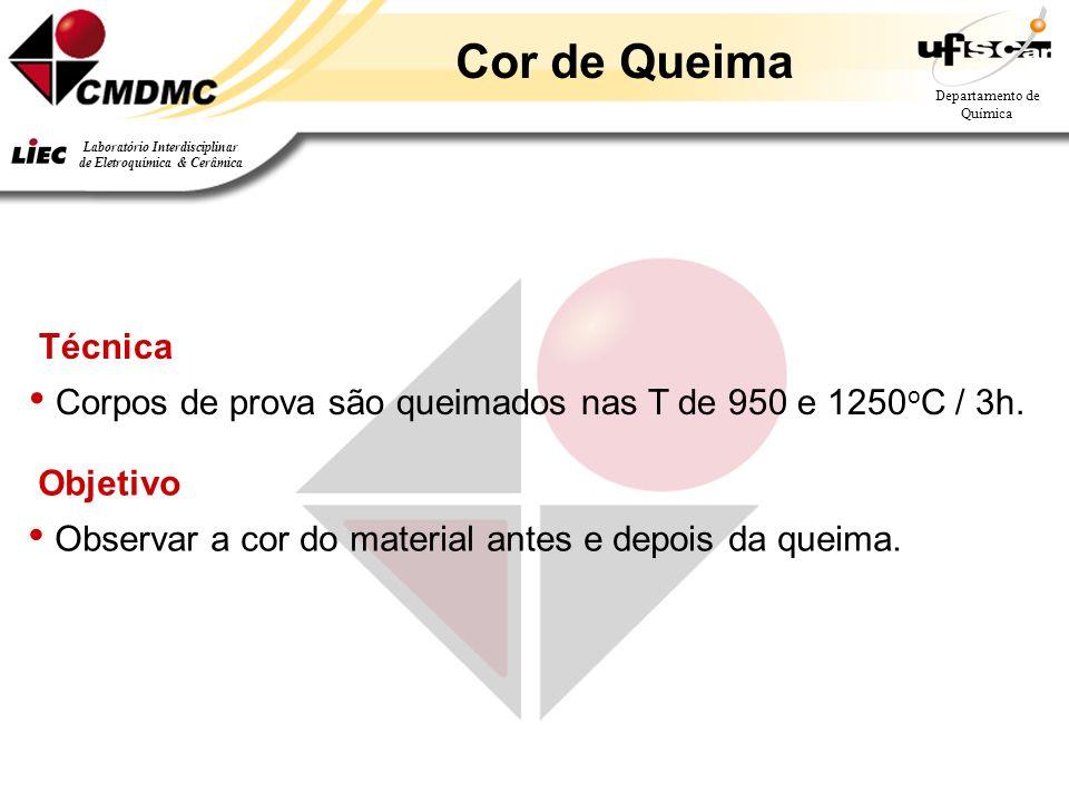 Cor de Queima Técnica. Corpos de prova são queimados nas T de 950 e 1250oC / 3h.