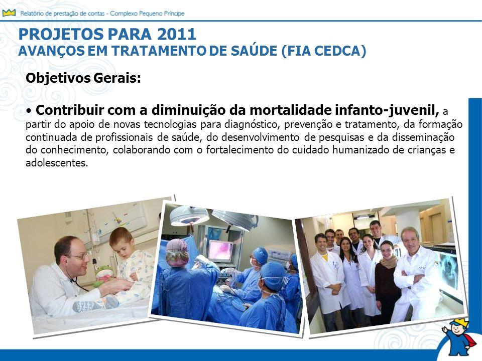 PROJETOS PARA 2011 AVANÇOS EM TRATAMENTO DE SAÚDE (FIA CEDCA)