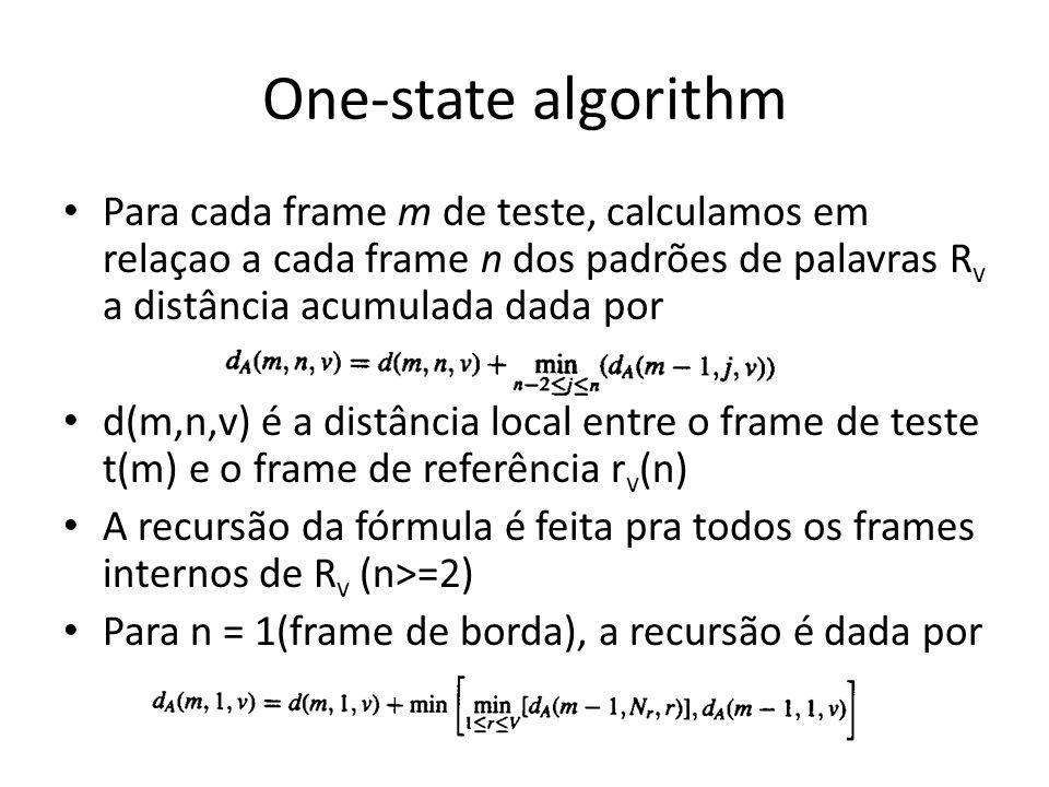 One-state algorithm Para cada frame m de teste, calculamos em relaçao a cada frame n dos padrões de palavras Rv a distância acumulada dada por.