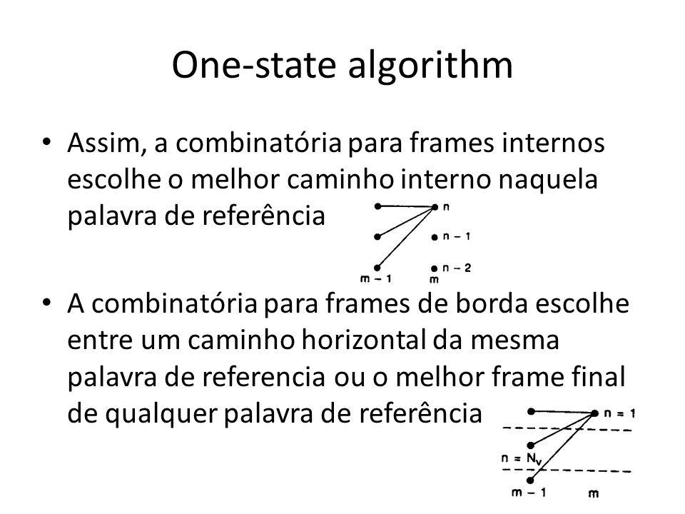 One-state algorithmAssim, a combinatória para frames internos escolhe o melhor caminho interno naquela palavra de referência.