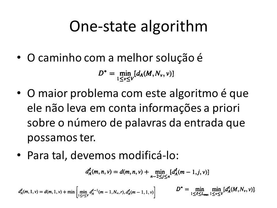 One-state algorithm O caminho com a melhor solução é